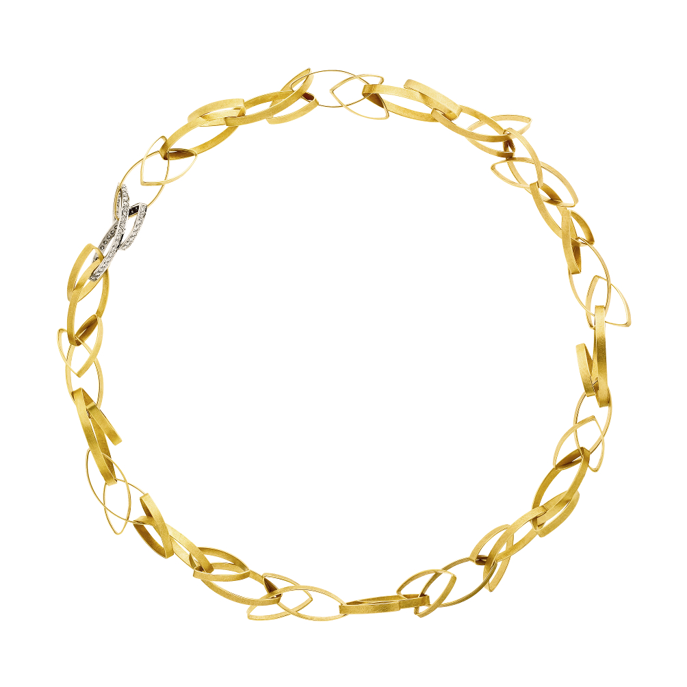 hand-forged necklace in yellow 18 carat gold