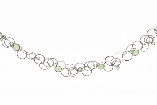 handmade silver necklace with green window enamel