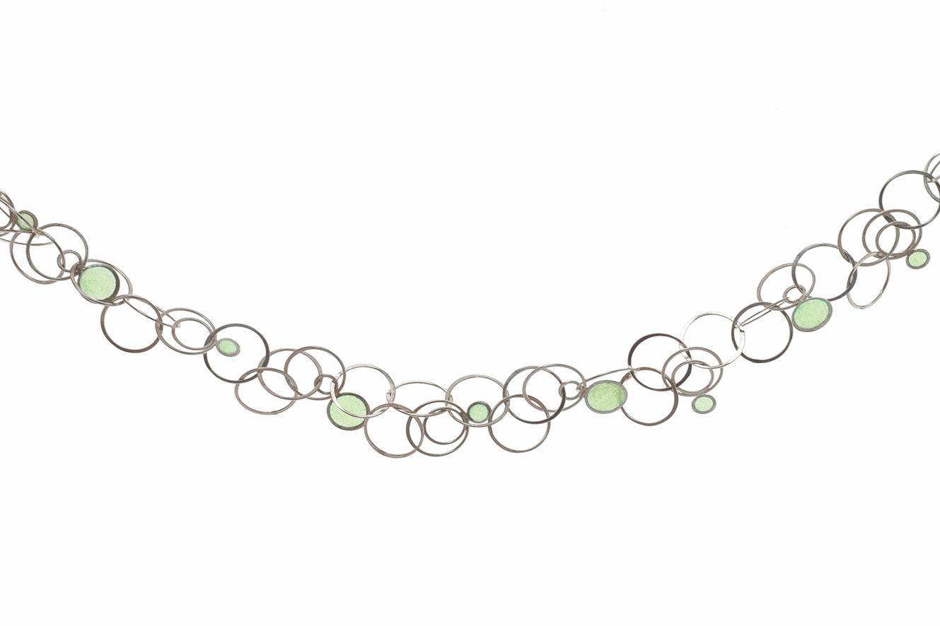 handmade silver necklace with green window enamel