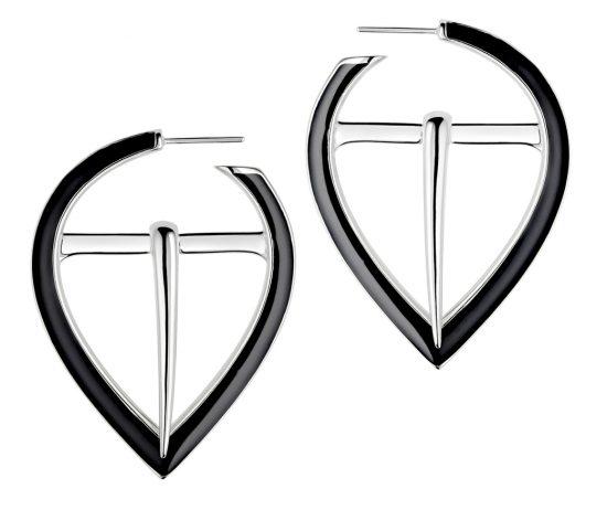 silver black buckle earrings