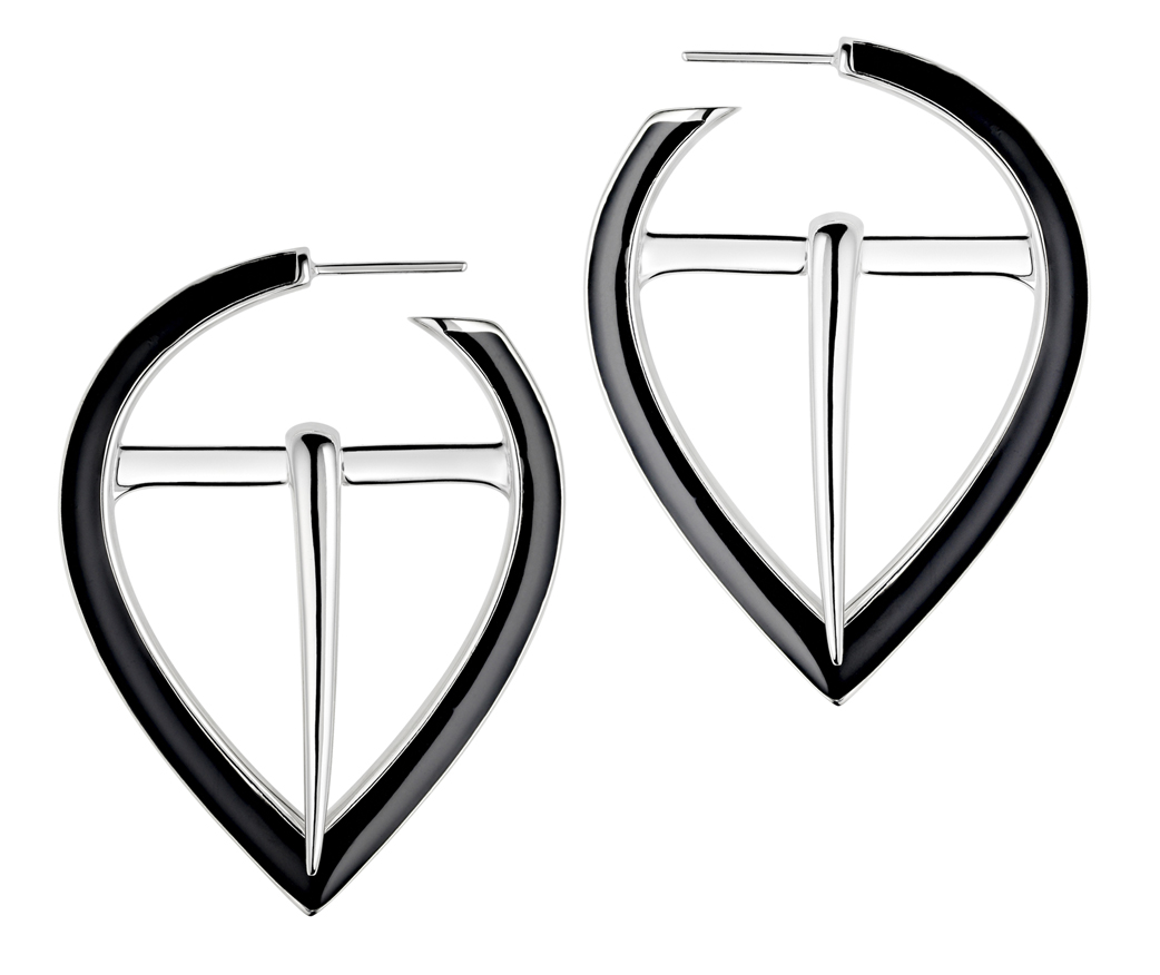 silver black buckle earrings