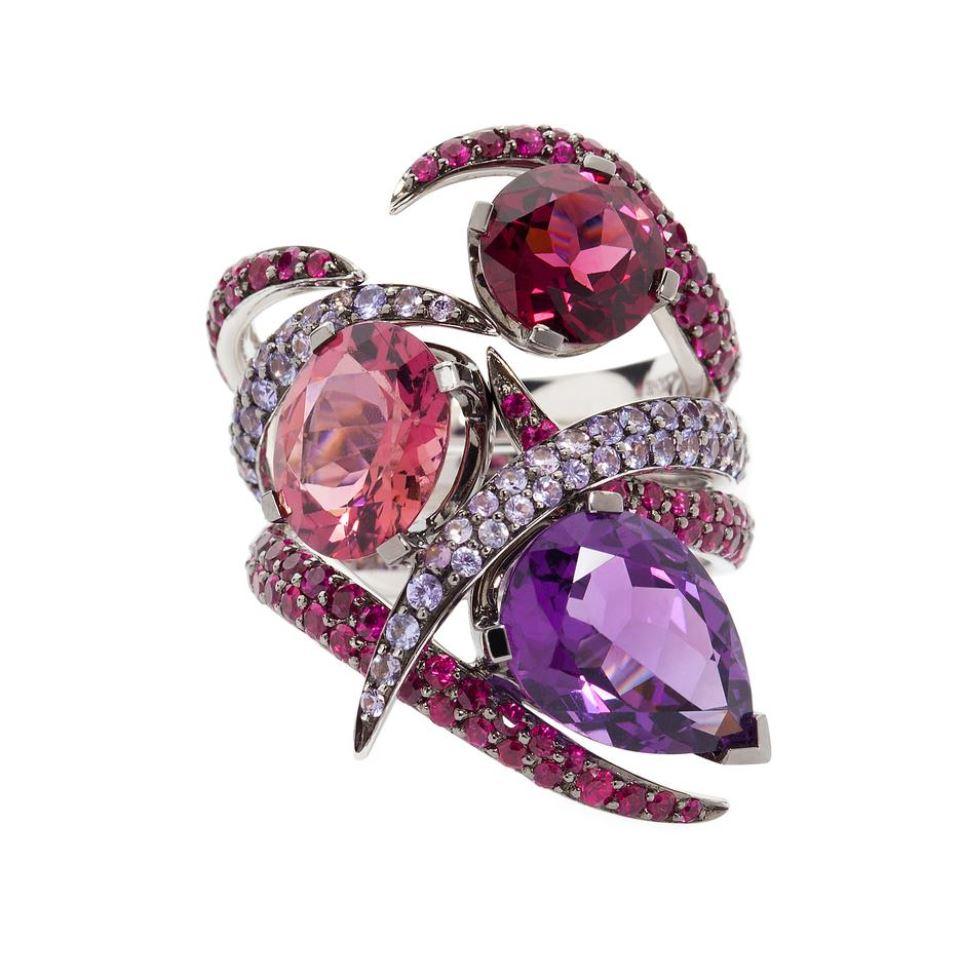 driedelige ring met amethist toermalijn granaat robijntjes en paarse saffiertjes