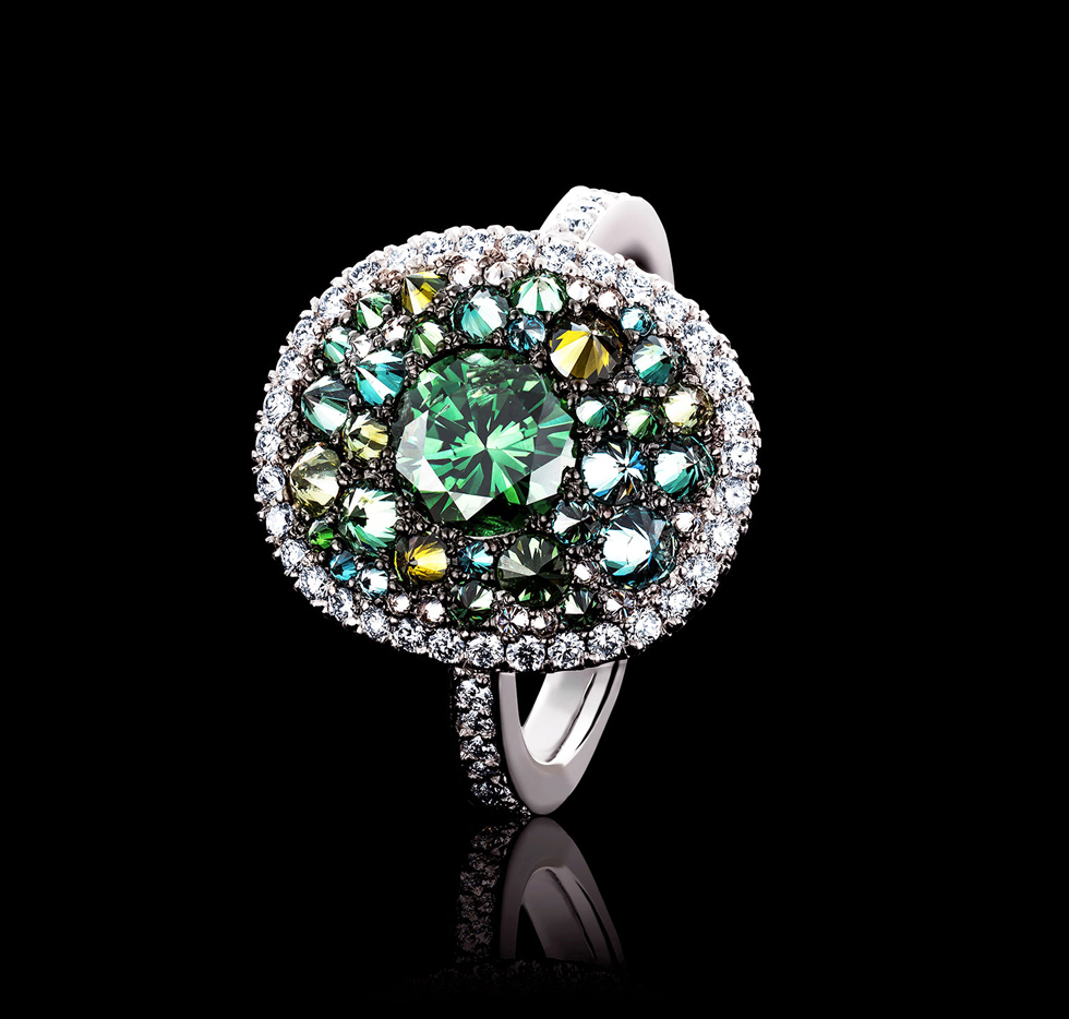 ring with green, blue and white diamonds