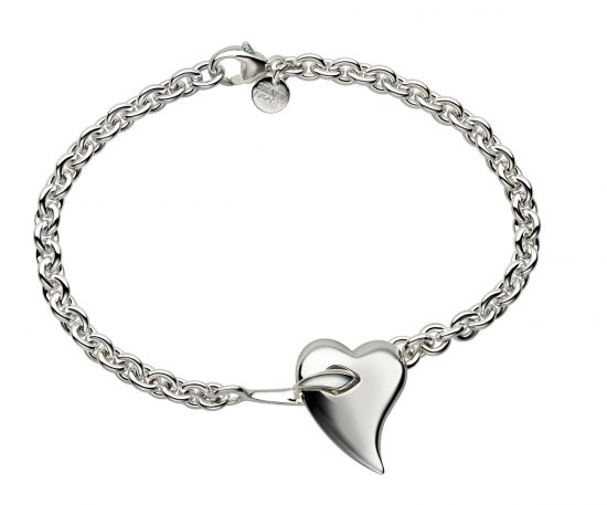 silver bracelet with heart