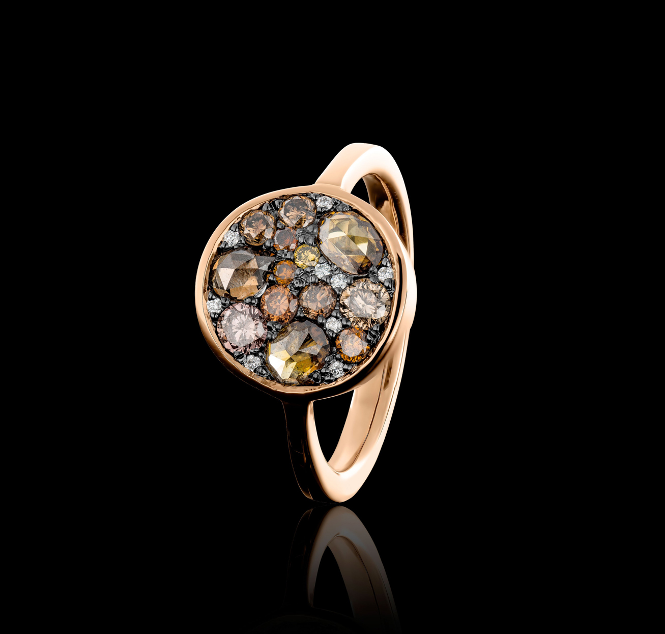 ring with cognac colored, brown and white diamonds
