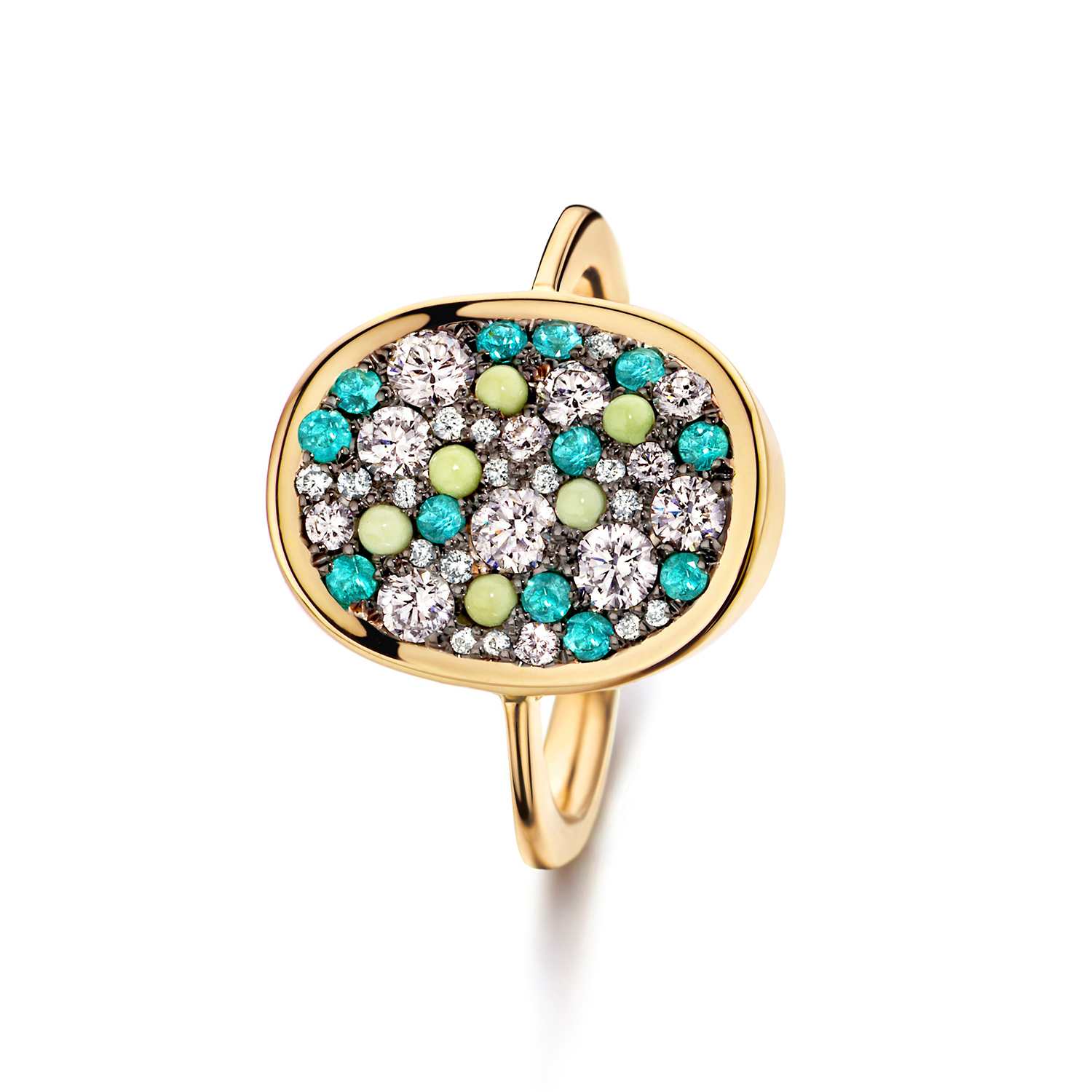 unique ring with paraiba tourmalines, diamonds and chrysoprase
