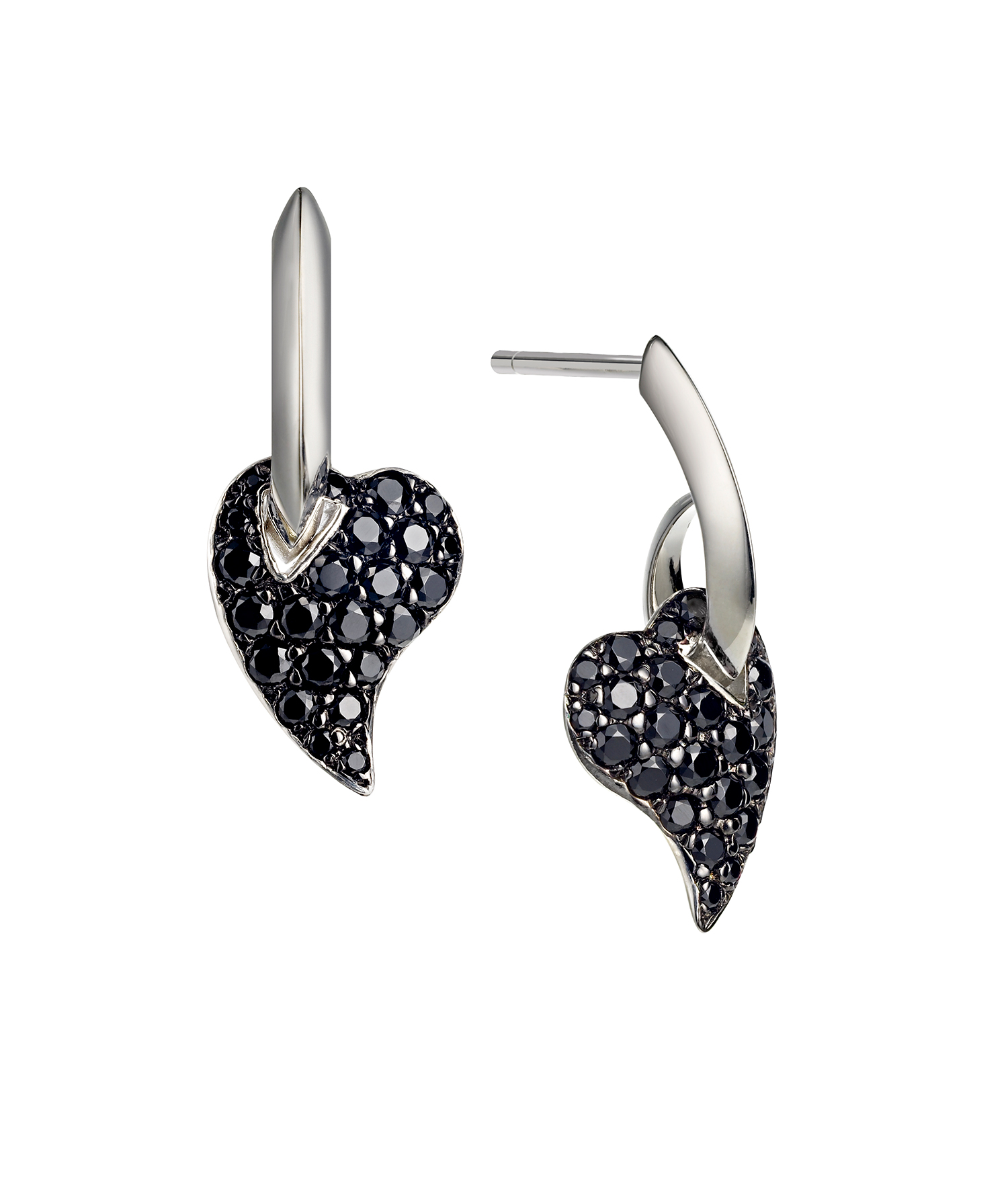 heart-shaped earrings set with black gemstones