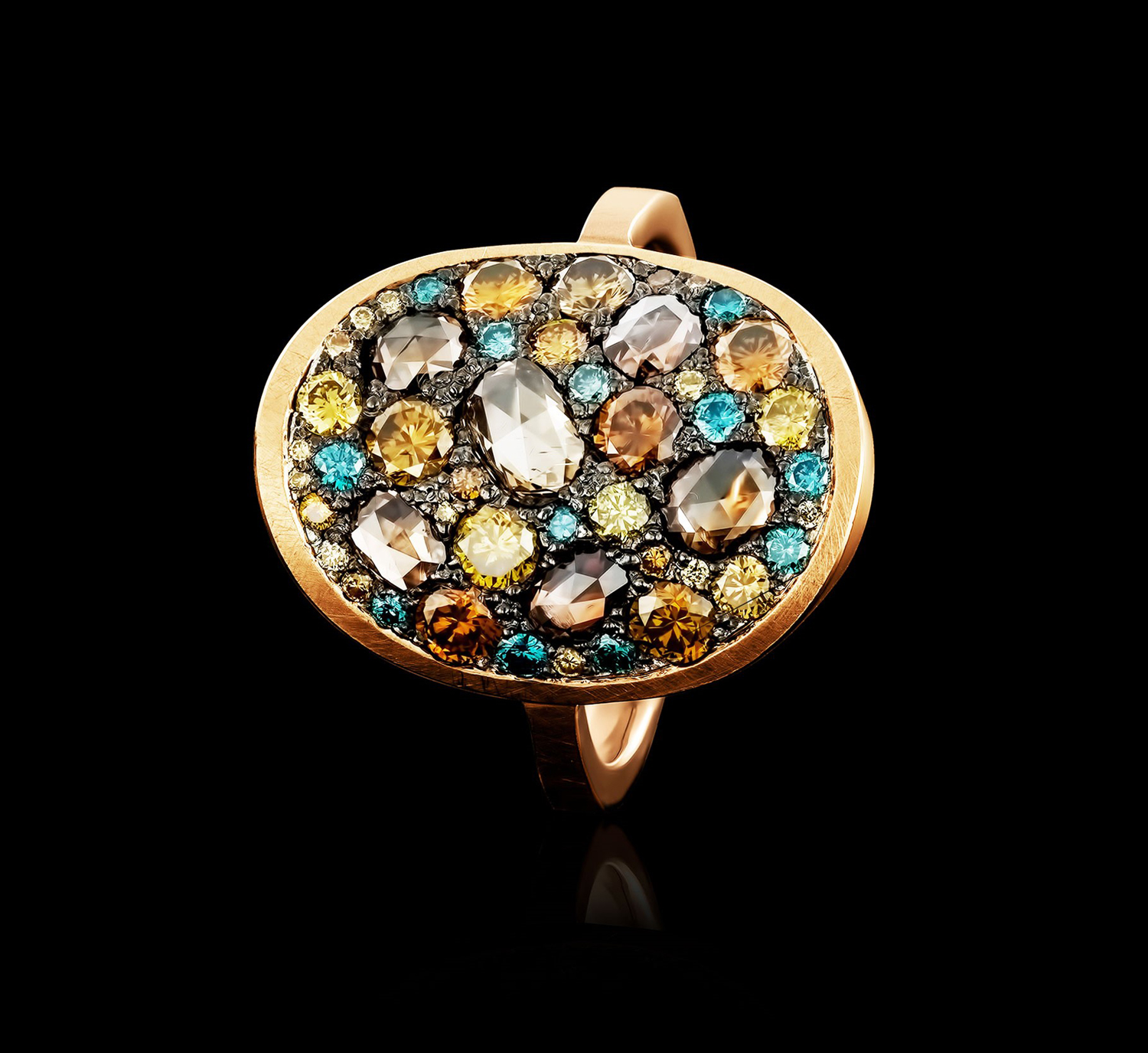 golden ring with blue, brown and yellow diamonds