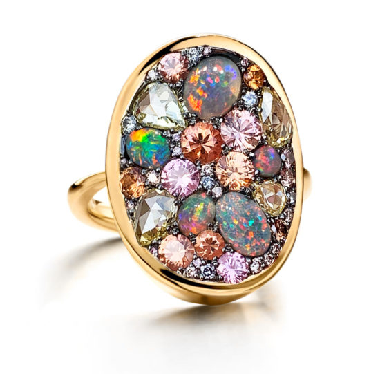 Unique ring with padparadscha sapphires, black Lightning Ridge opals and color diamonds.