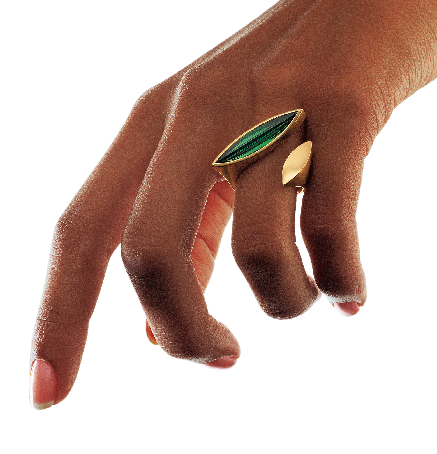 18 carat gold open ring with green tourmaline