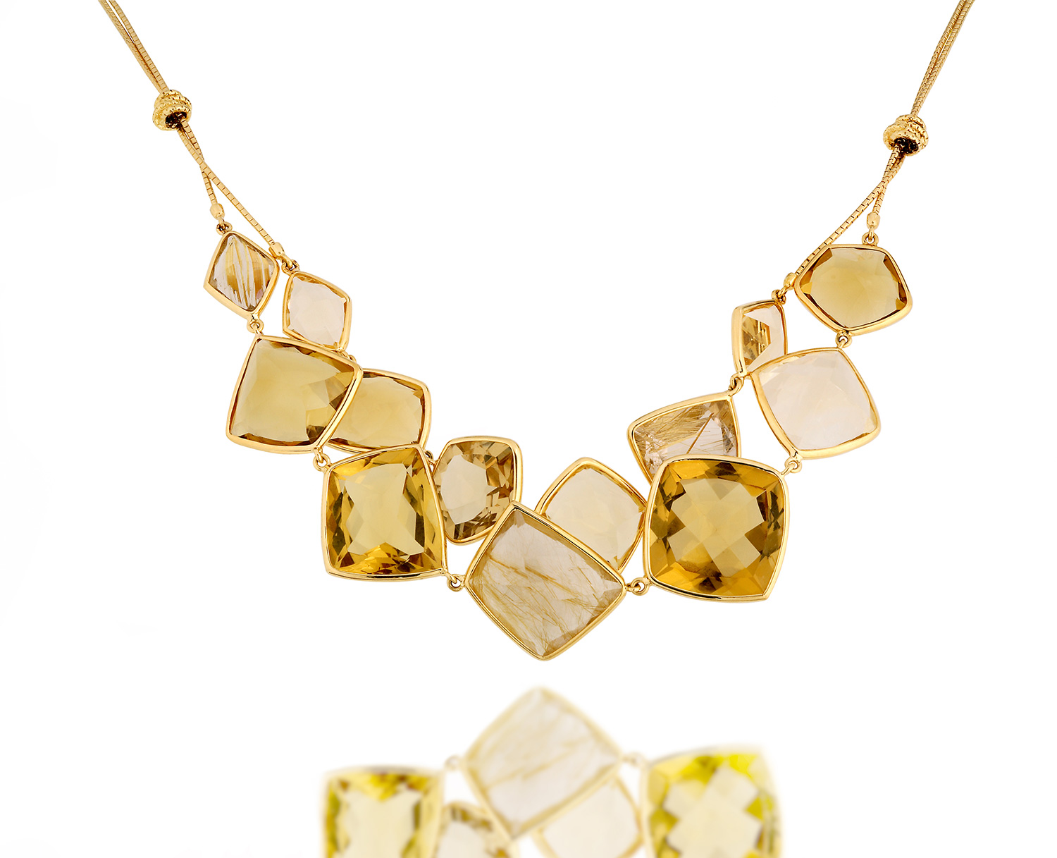 yellow gold necklace with natural quartz