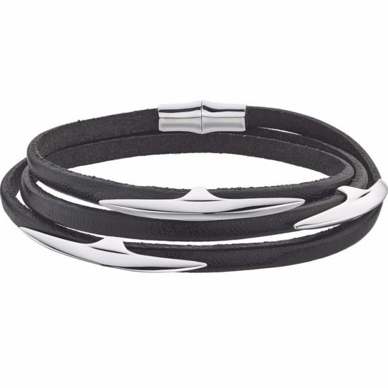 black leather bracelet with silver elements