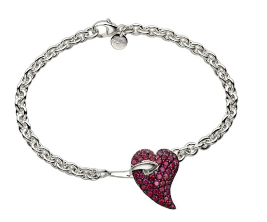 Silver bracelet with heart set with red topaz.