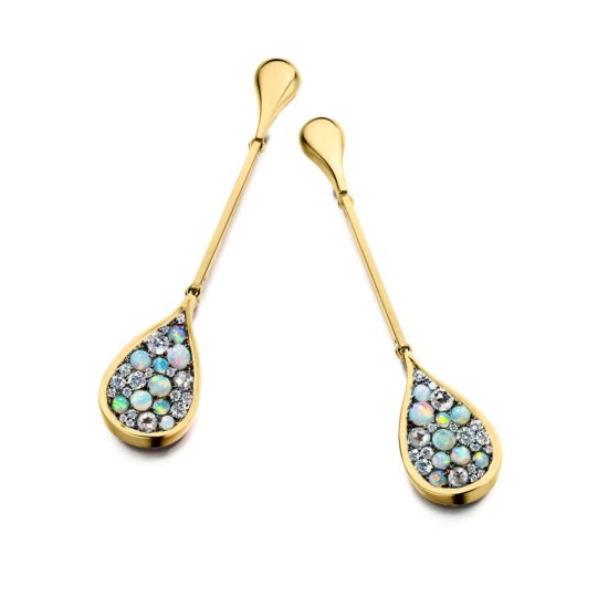 Earrings with Australian white opal cabochons and translucent clear diamonds.